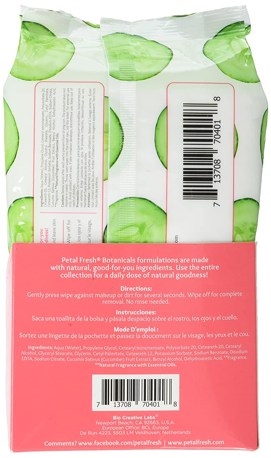 Amazon.com : Petal Fresh Botanicals Makeup Removing Cleansing Towelettes Refreshing Cucumber, 60 Count : Beauty