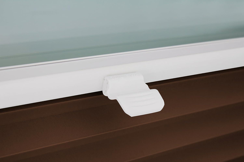 Montage par supports  /à clips jusqu/'/à 27 mm marron fonc/é H/öhe: 40-100 cm Store pliss/é sur mesure pour montage sur toutes les fen/êtres Breite: 51-60 cm