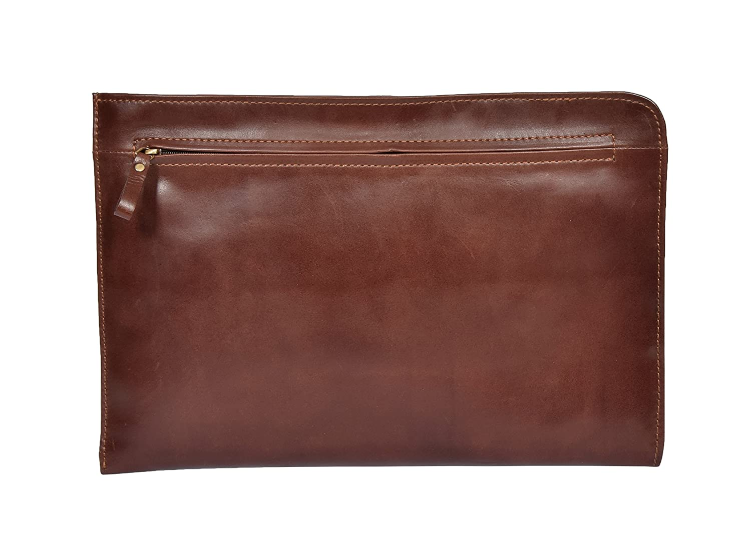 A4 Soft Leather Zip Around Underarm Folio Tablet File Document Office Brown Bag - Porto Porto Brown