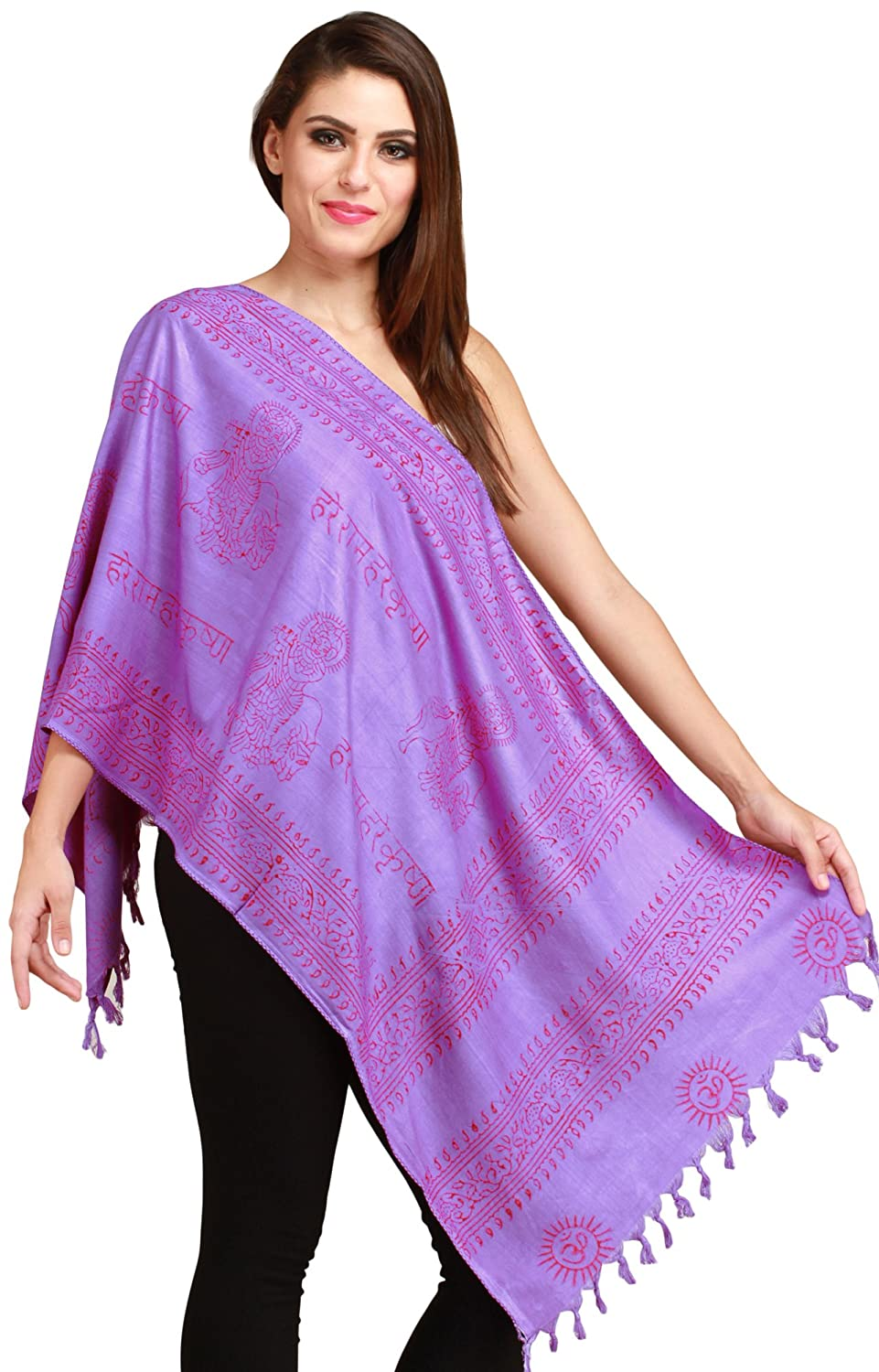 Exotic India Dahlia-Purple Hare Rama Hare Krishna Prayer Scarf SRB88