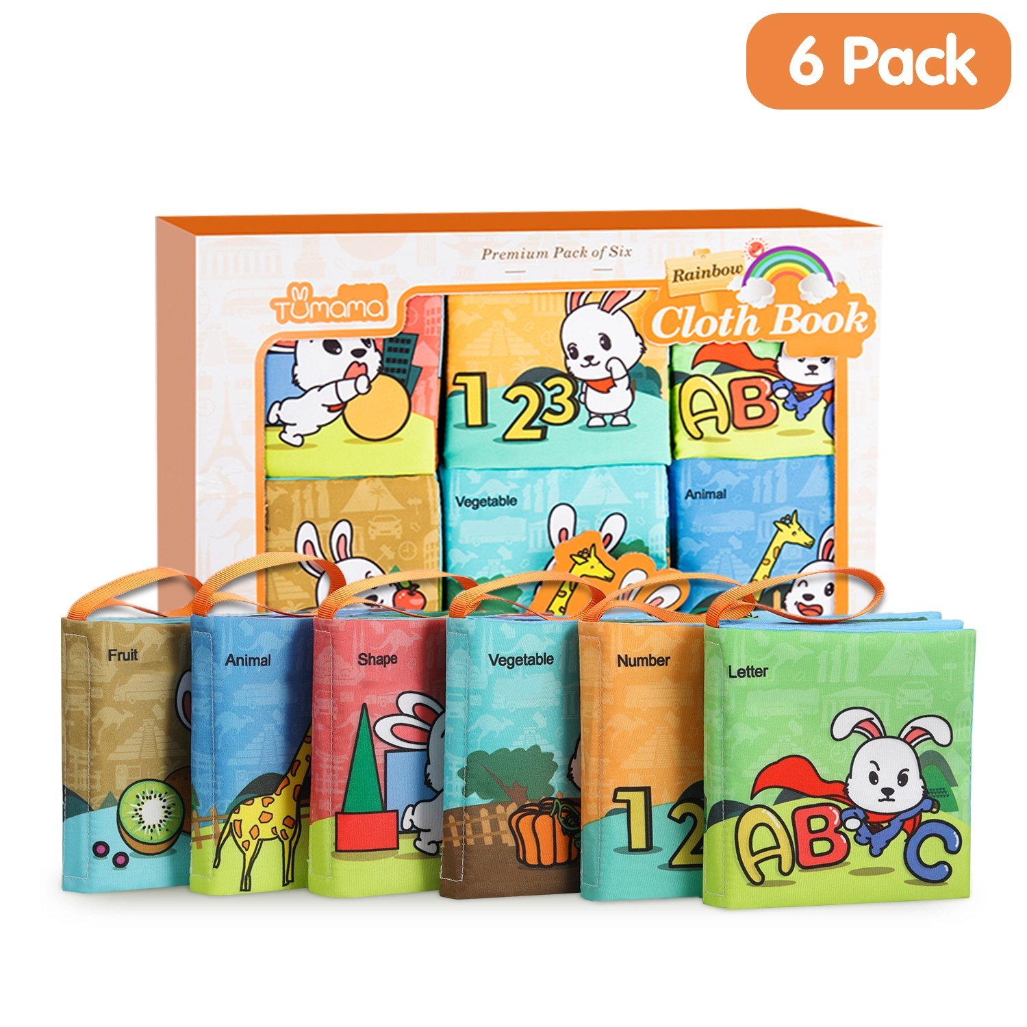 TUMAMA Soft Books Babies, Baby First Soft Books Early Education Toys Activity Crinkle Cloth Book Newborn, Toddler, Infants Kids - Pack of 6