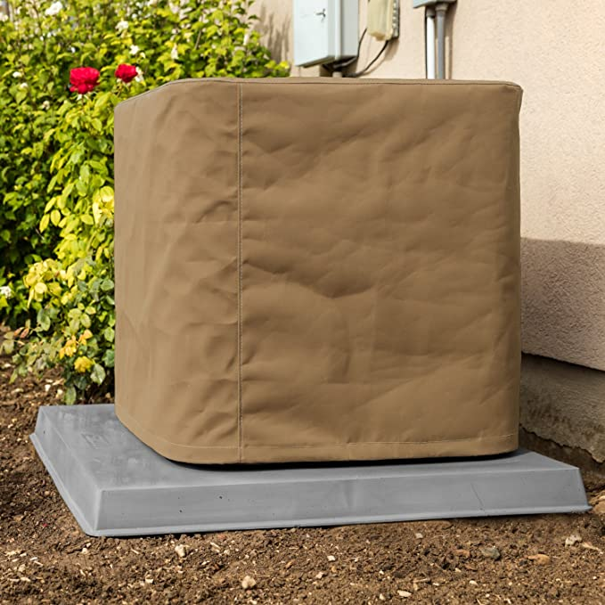 Brown 26 x 26 x 32 inches Square Protective Cover for Outdoor Condensing Units Forestchill Central Air Conditioner Cover for Outside Unit