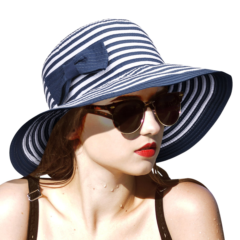 Women Sun Hats w/Bowknot Floppy Wide Brim UV Protection Foldable Roll Up Gardening Hiking Beach Cap