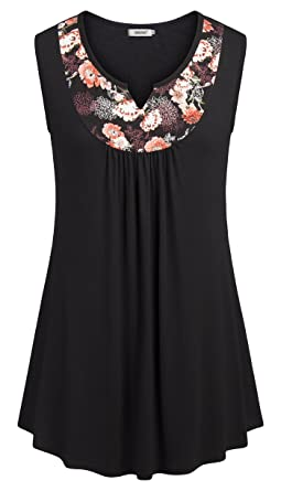 dde9484649b4e5 BEPEI Womens Tunic Tops, Swing Summer Floral Vest Flare Tank Tops Business  Casual Vintage Blouse