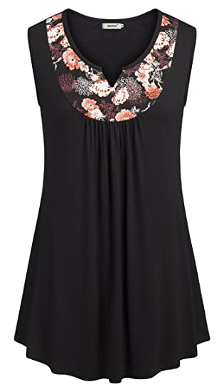 8beecb6a2a38 BEPEI Womens Sleeveless Tunic Tops Floral Neckline Summer Casual ...