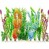 MyLifeUNIT Artificial Fish Tank Plants, Plastic Aquariums Plants Decorations, Set of 10