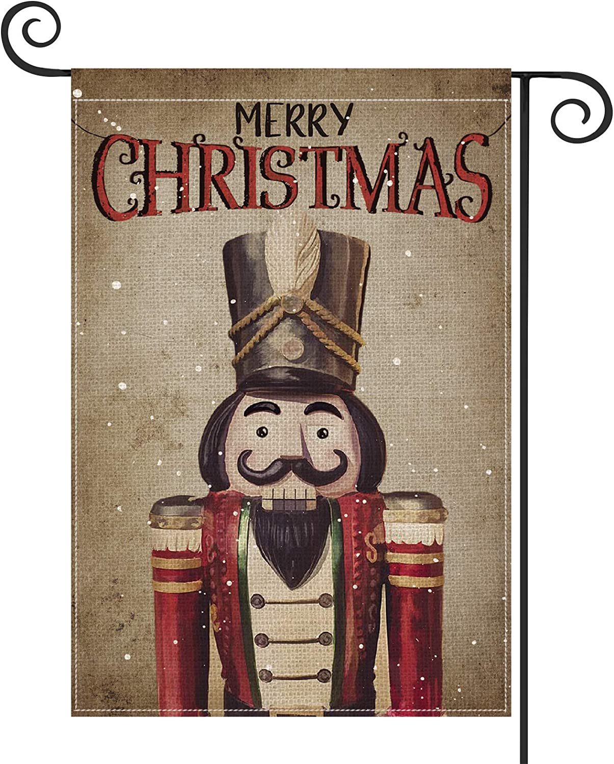 AVOIN Merry Christmas Watercolor Nutcracker Garden Flag Vertical Double Sized, Winter Holiday Party Yard Outdoor Decoration 12.5 x 18 Inch