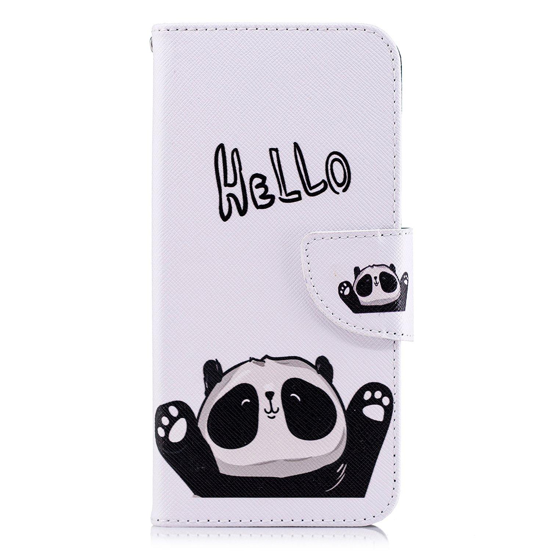 ISAKEN Huawei P Smart H/ülle Hello Panda PU Leder Flip Cover Brieftasche Geldb/örse Wallet Case Ledertasche Handyh/ülle Tasche Schutzh/ülle Etui mit Standfunktion f/ür Huawei P Smart