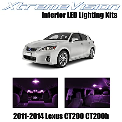 XtremeVision Interior LED for Lexus CT200h CT200 2011-2014 (8 Pieces) Pink Interior LED Kit + Installation Tool: Automotive