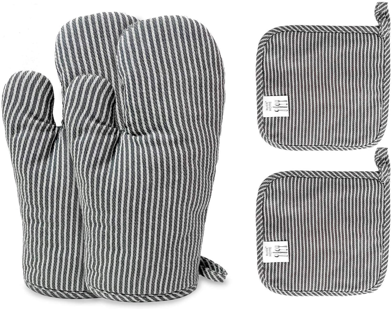 4Pcs Oven Mitts and Pot Holders, Heat Resistant Oven Mitts with Pothholder and Non-Slip Surface Safe for Baking, Cooking, BBQ
