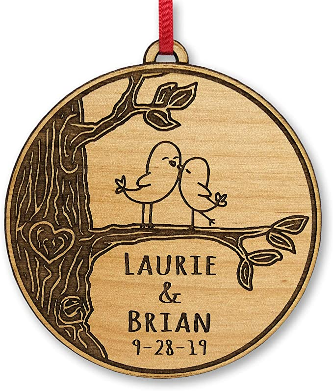 Our First Christmas Married Personalized Christmas Couple\u2019s Round Ceramic Ornament Deer Personalized with Names /& Year Married Ornament