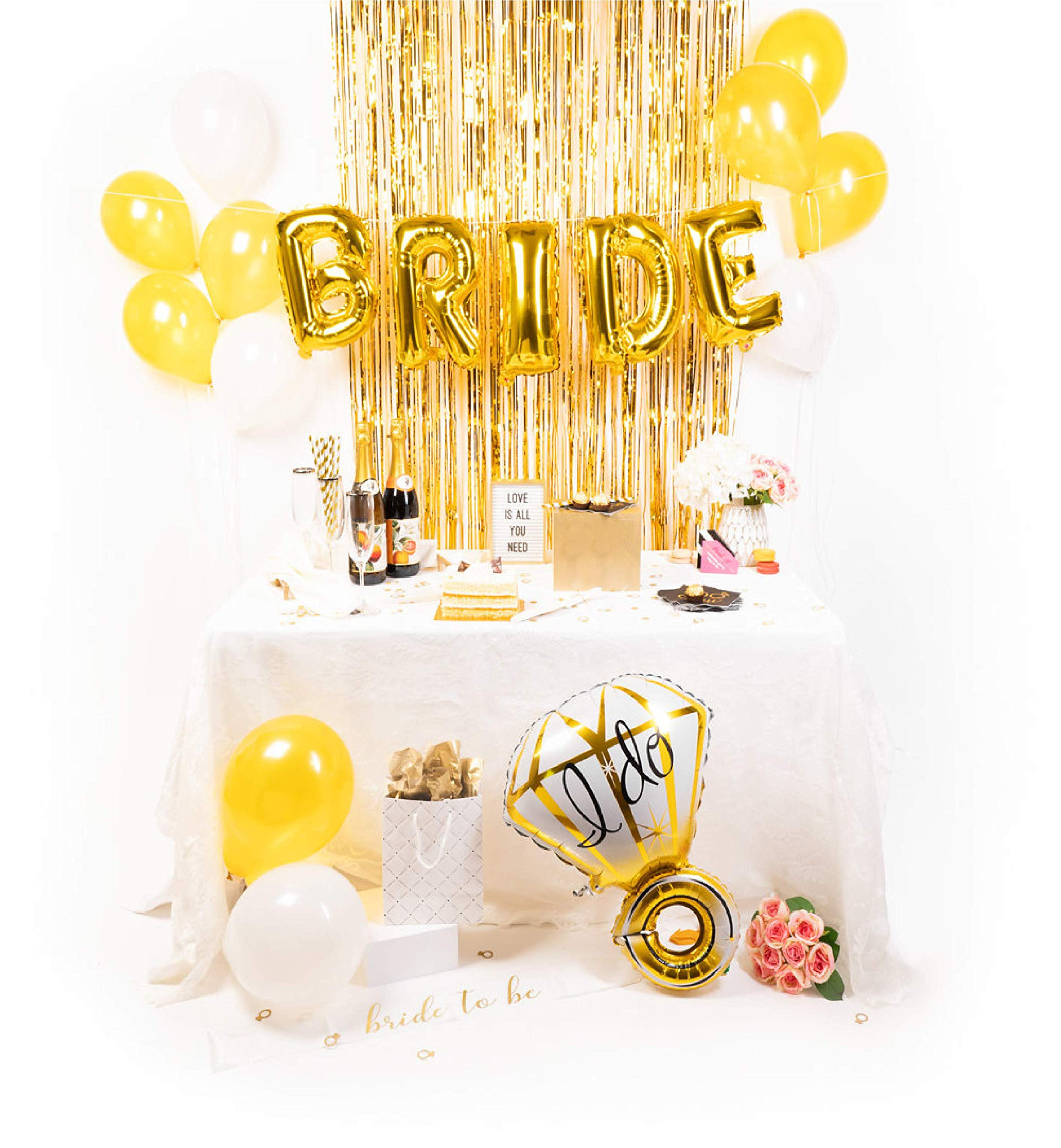 Gold Bridal Shower Decorations Kit | Bachelorette Party Supplies | Balloons | Sash | Tinsel Backdrop by Bridal Station