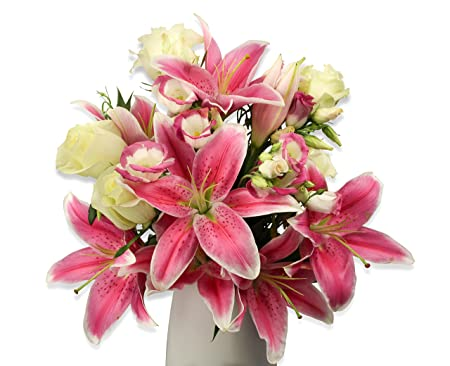 Stunning Pink Lily Rose Bouquet With Free Delivery Greeting Card