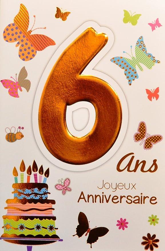 Age Mv 69 2006 Carte Joyeux Anniversaire 6 Ans Enfant Garcon Fille Motif Gateau 6 Bougies Papillons Amazon Fr Fournitures De Bureau