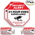 2 Video Surveillance Sign - 24 Hour video Surveillance All Activities Are Monitored Sign Large and thick, Comes with stickers and nails highly durable sun and water resistant by GlobeSecurity