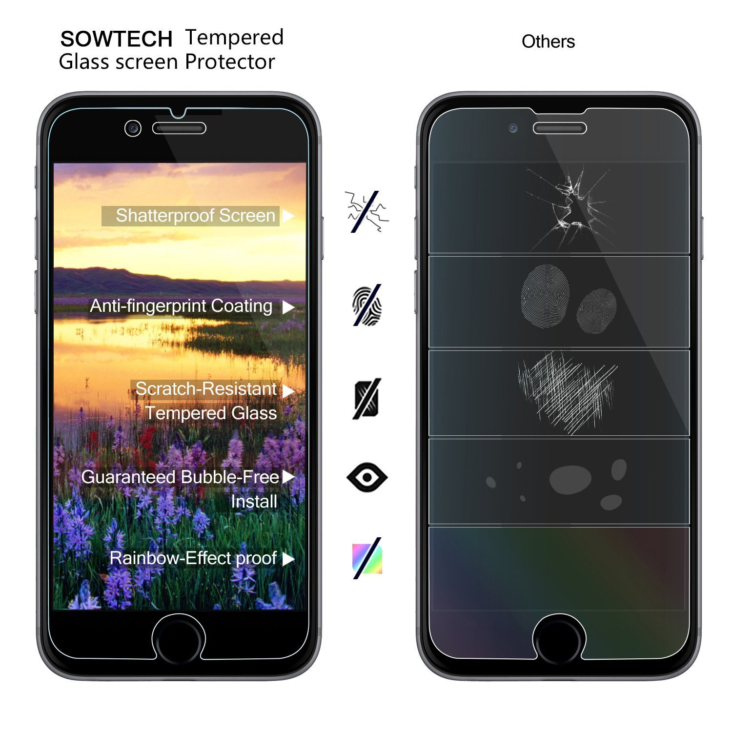 Ultra Clear 9H iPhone 6 6S PLUS Screen Protector SOWTECH HD 2 Packs Premium Tempered Glass Vandal Scratch Proof 0.33MM Slim Protective Film Classical Cover Anti Fingerprint Bubble Stain ETI Clear