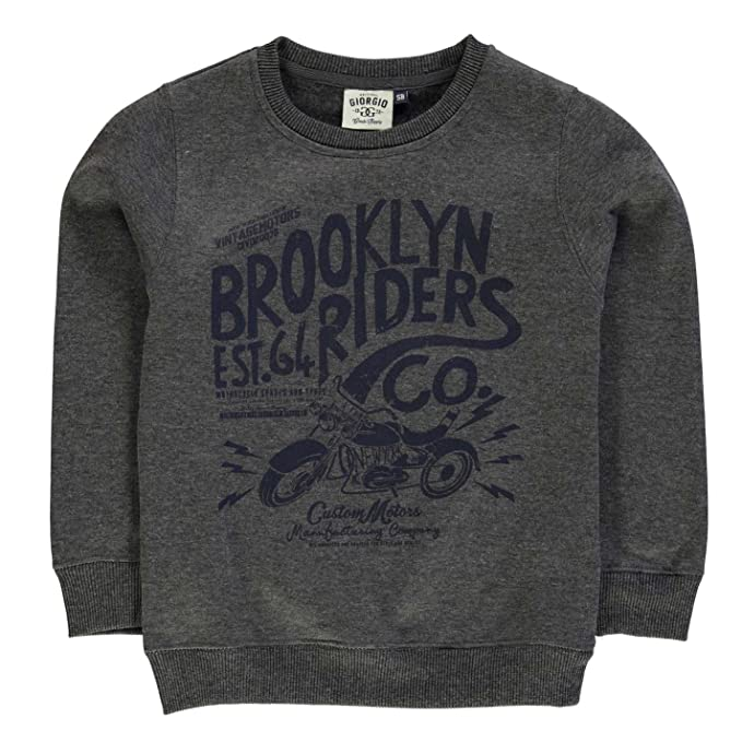 Giorgio Ninos Brooklyn Sueter Junior Chicos Blusa Manga Larga Cuello Redondo Gris Medium