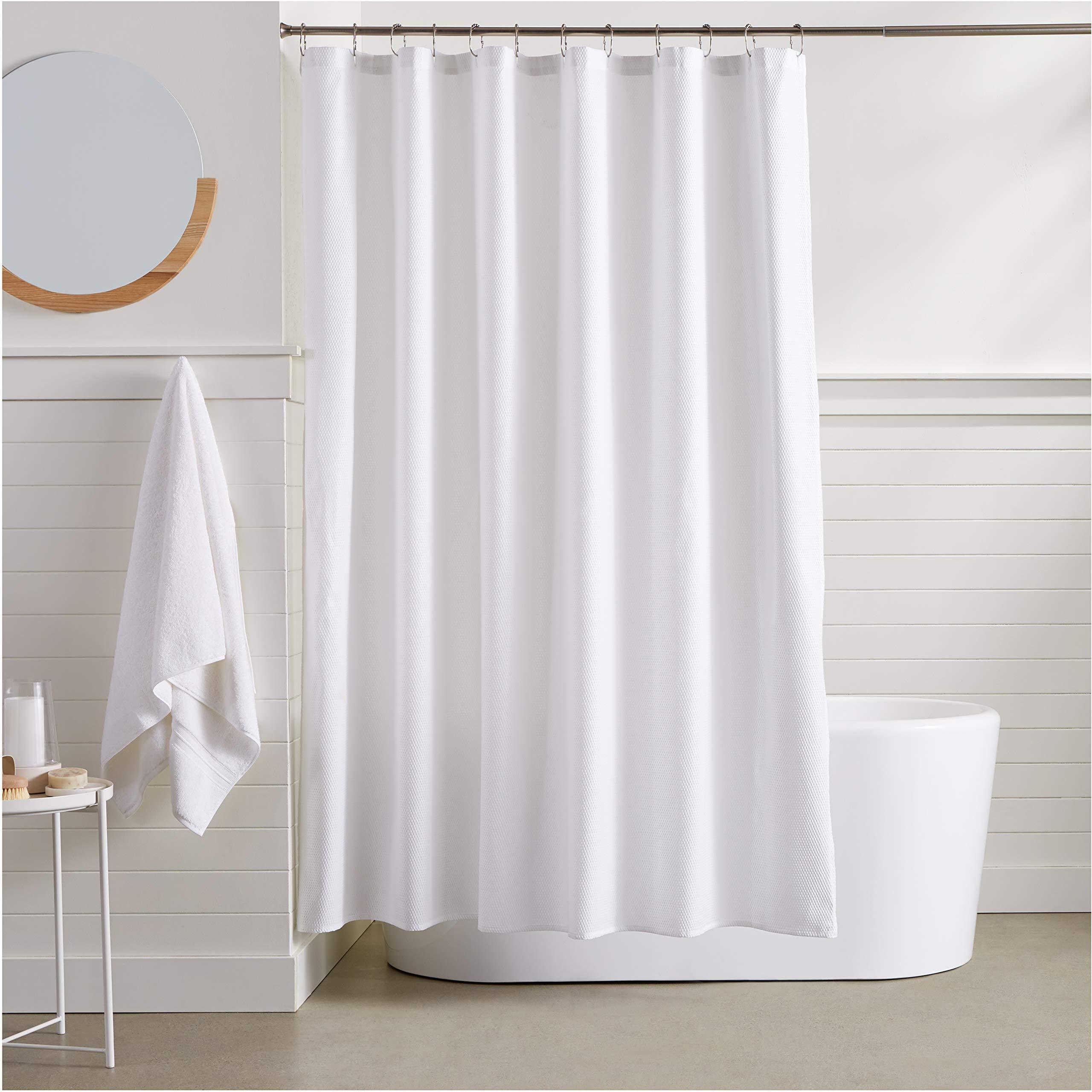 AmazonBasics Waffle Weave Shower Curtain - White