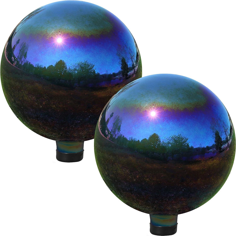 Sunnydaze Gazing Globe Glass Mirror Ball, 10 Inch, Stainless Steel Rainbow, 2 Pack