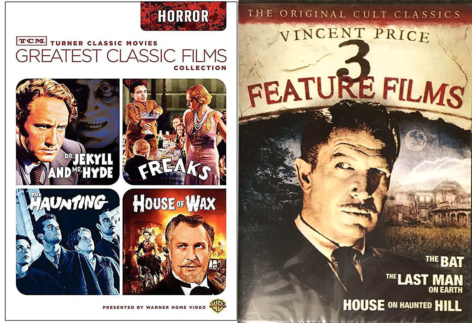 Amazon Com Horror Dvd Collection Vincent Price The House On Haunted Hill The Bat The Last Man On Earth Tcm Classic Films House Of Wax 1953 The Haunting 1963