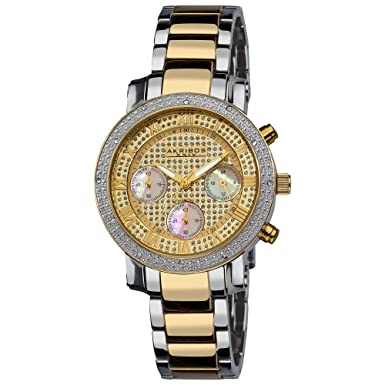 Akribos XXIV Women s AKR440YG Grandiose Dazzling Diamond Chronograph Stainelss Steel Bracelet Watch