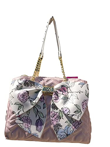 7db76c918635 Betsey Johnson Quilted Heart Chevron Stripe Floral Print Big Bow 3 Zip  Triple Entry Satchel Crossbody Bag  Handbags  Amazon.com
