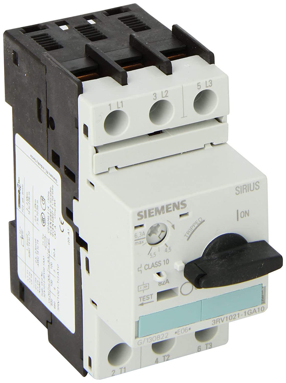 Siemens 3RV1021-1GA10 Manual Starter and Enclosure Open Type 4.5-6.3 FLA Adjustment Range