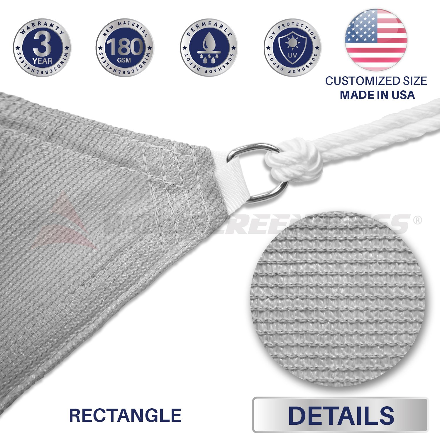Windscreen4less 9 x 11 Sun Shade Sail UV Block Fabric Canopy in Light Grey Rectangle for Patio Garden with Free Pad Eyes Customized Size 3 Year Limited Warranty