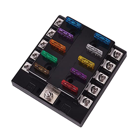 81RcbQLF5lL._SX554_ amazon com dc 32v 10 way terminals circuit car auto blade fuse Outdoor AC Fuse Box On at mifinder.co