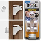 Safety Magnetic Cabinet Locks Set with 4 Locks & 1 Key - Drill & Tool Free - Baby Safety & Childproof Solution for Kitchen & Bathroom Cabinets - Universal Design