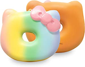 SANRIO Hello Kitty Donut Slow Rising Cute Squishy Toy Keychain (Cute Rainbow, 4 Inch) [Kawaii Squishies for Party Favors, Stress Balls, Decorative Props, Birthday Gifts for Kids, Girls, Boys, Adults]