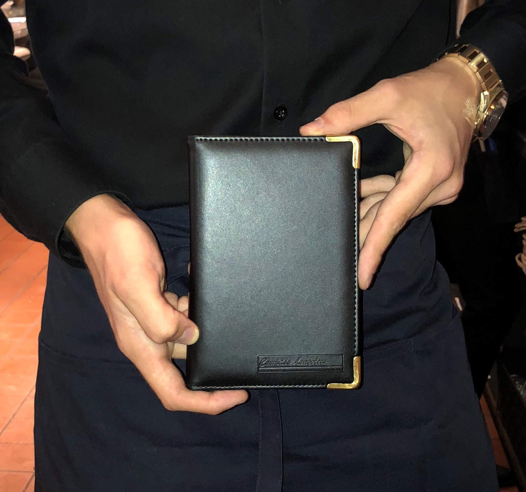 Professional Waitress Waiter Server Book | Black Leather with Gold Corners | Made to Last | Holds Memo Pad Cash Pen Cards | Money Pocket | Restaurant Wallet Organizer | Perfect Work Accessory