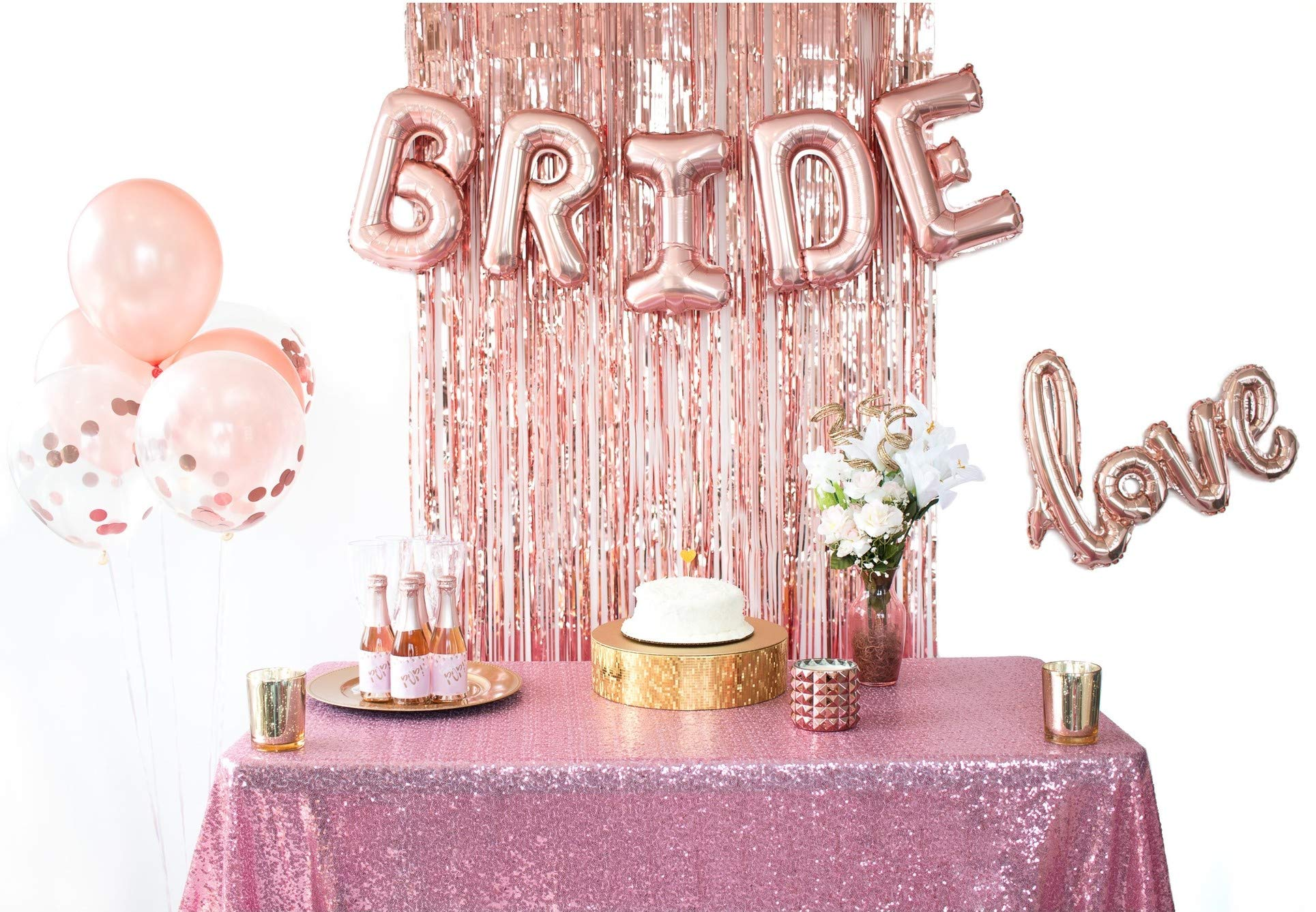 Rose Gold Bridal Shower Decorations & Bachelorette Party Balloons- Kit Includes: Bride & Love Foil Balloons, Rose Gold Fringe Curtain, Confetti & Rose Gold Latex Balloons by Mandie's Party Shop by Mandie's Party Shop