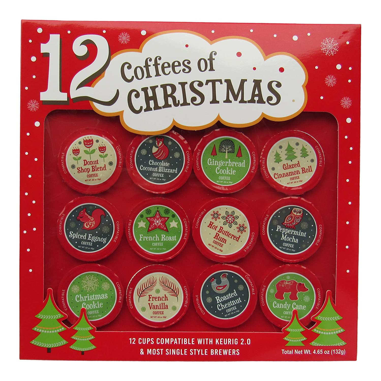 12 Coffees of Christmas - 12 K Cups - Premium Holiday Coffee - Gift Set
