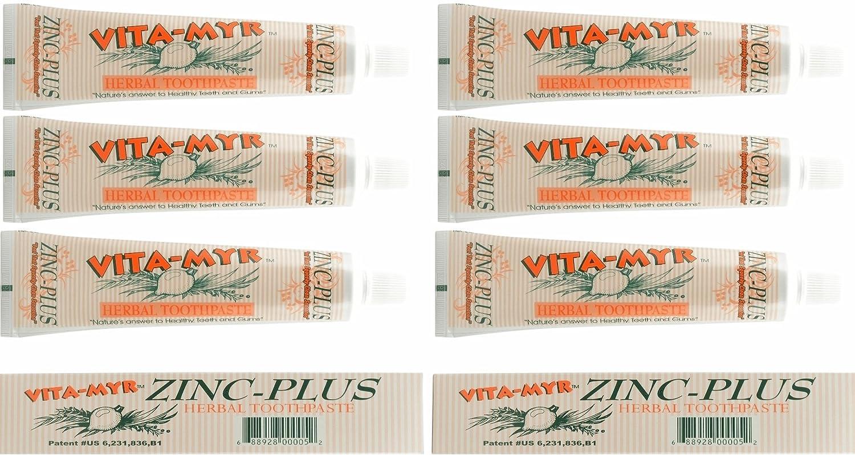 6 Pk VITA-MYR 4 Oz Herbal Zinc+ Natural Toothpaste Safe & Effective Toothpaste No Sugar, No Fluoride, No SLS, No Aspartame, No Saccharin, Low-Abrasive, Gluten Free & Vegan, Whiten Teeth!
