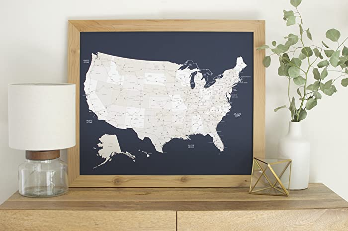Amazoncom Small Navy US Map Push Pin Travel Map Framed - Us map picture frame