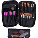 Valdler Makeup Organizer bag With Compartments Portable Cosmetic Brush Holder Black