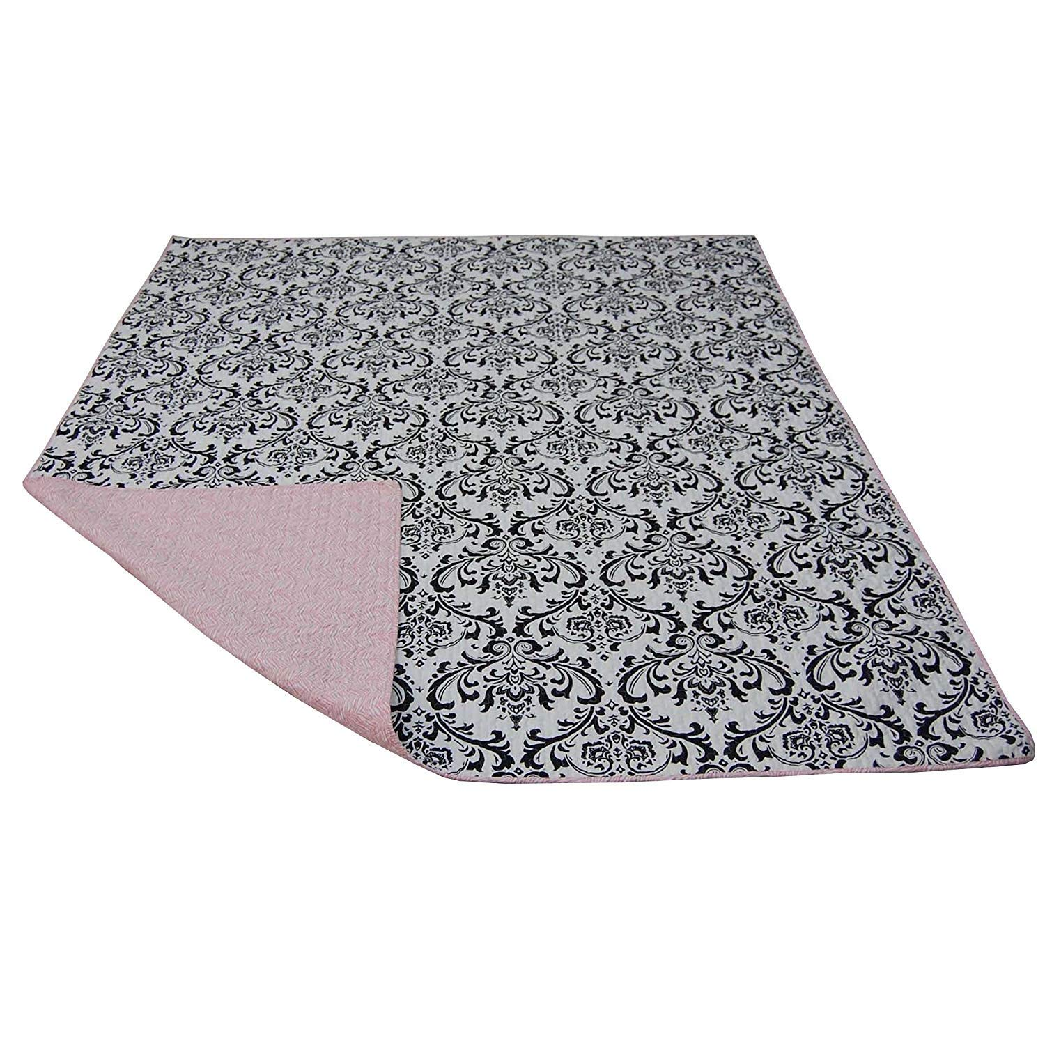 Cotton Tale Designs 100% Cotton Black and White Floral Damask with Pink Zebra Stripes Safari Jungle Animal Print Reversible Quilt - Girl (Full/Queen)