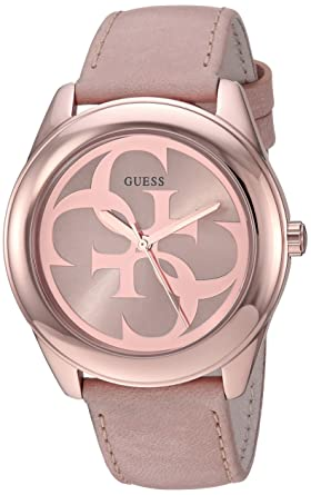 67a6e6e7905ec Amazon.com  GUESS Women s Stainless Steel Leather Logo Watch