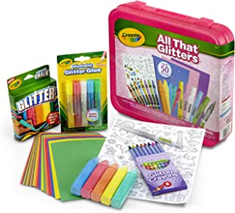 Crayola All That Glitters Art Case Art Gift for Kids 5 and Up, Includes Glitter Crayons, Marker, Glue, Chalk, Paper and Stickers in A Convenient Travel Case, Over 50 Pieces - 04-6887