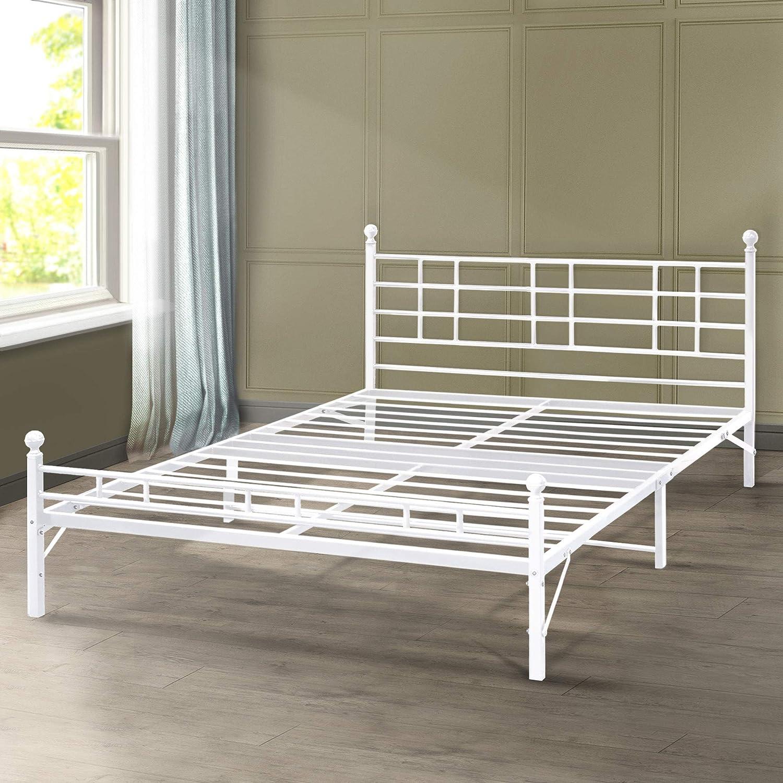Best Price Mattress Model H Easy Set-Up Steel Platform Bed Steel Bed Frame, Full, White