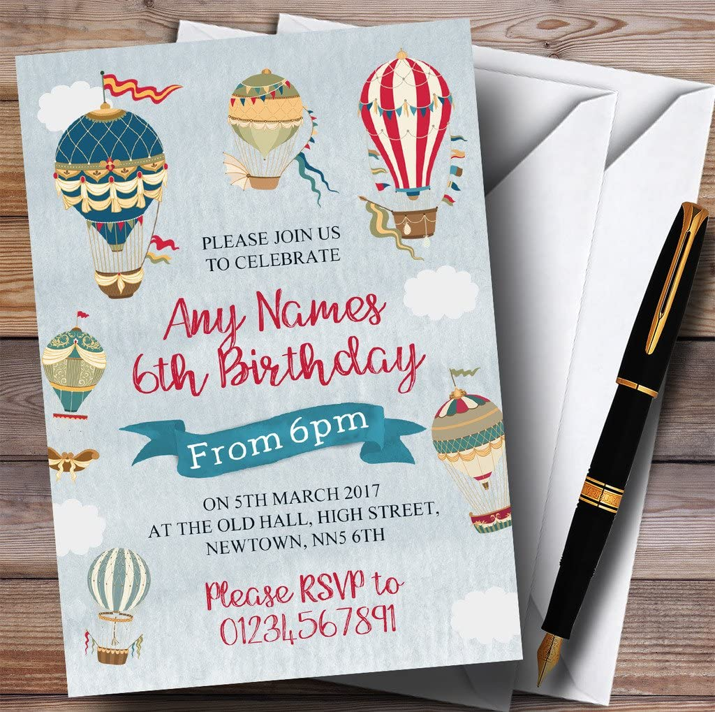 Vintage Boys Hot Air Balloon Children/'s Birthday Party Invitations
