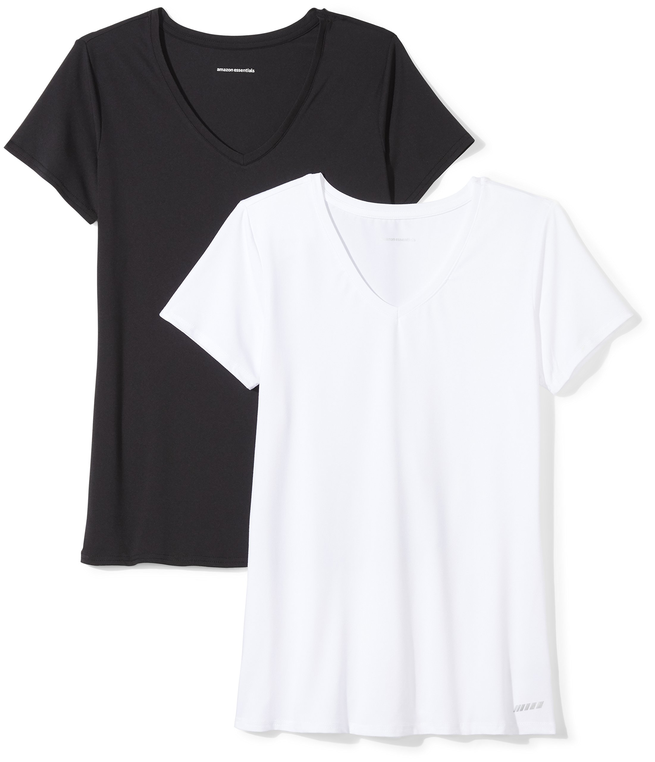 Amazon Essentials Women's 2-Pack Tech Stretch Short-Sleeve V-Neck T-Shirt, Black/White, Medium