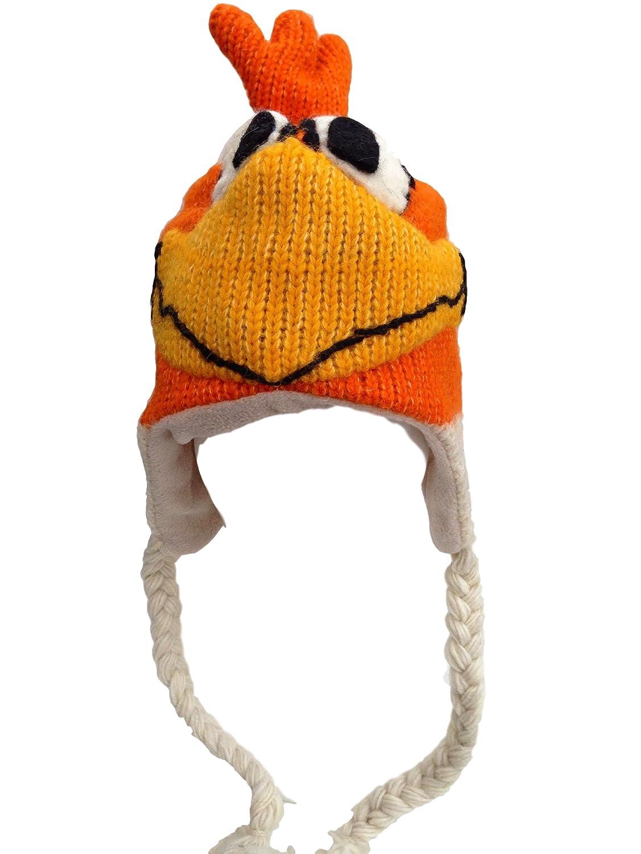Karma Bonnet Tricot/é /à la main 100//% Laine Motif animal pour Ski ou Festivals