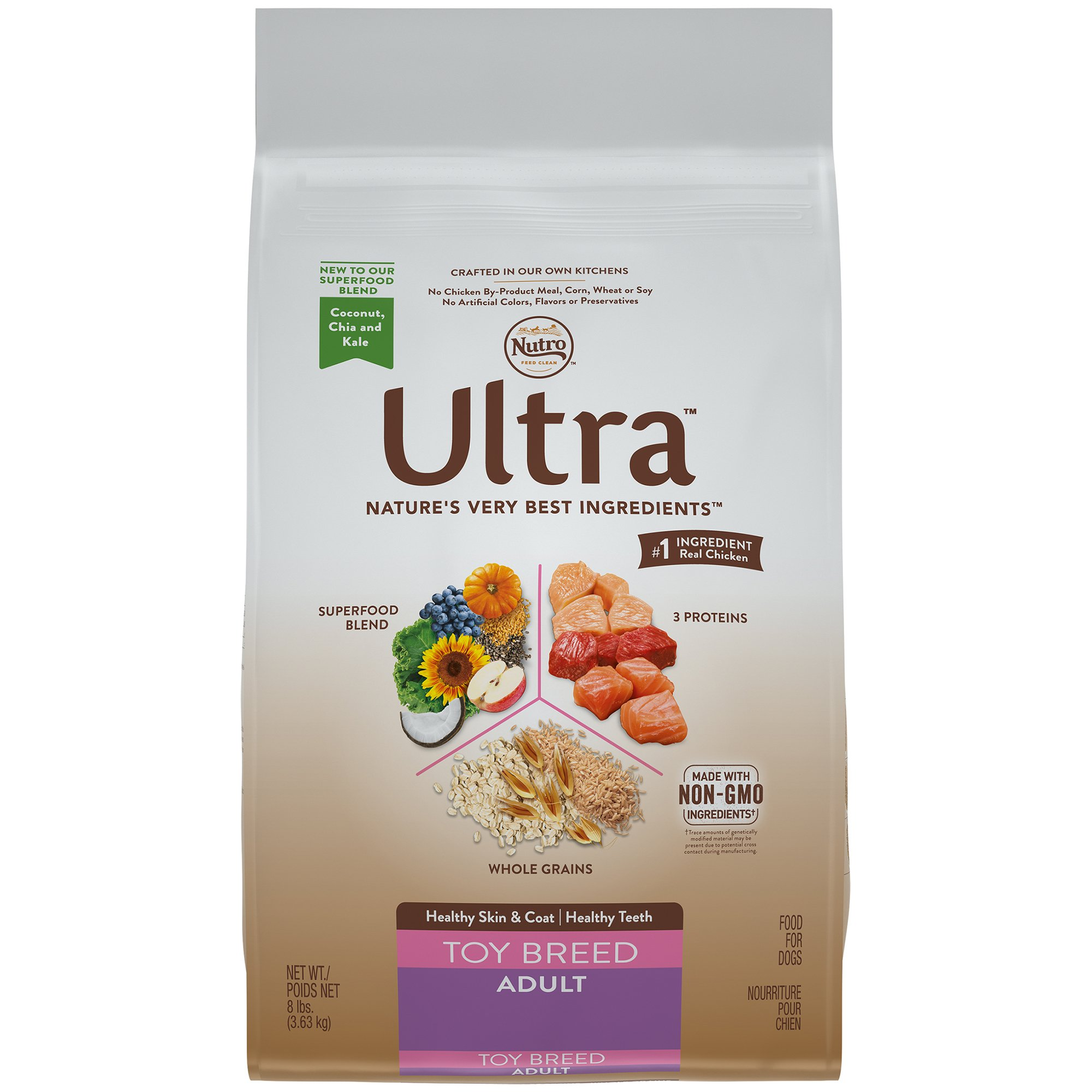 Nutro ULTRA Toy Breed Adult Dry Dog Food (1) 8 lbs; Delicious With Flavor; Rich in Nutrients and Full of Flavor for even the Tiniest of Dogs