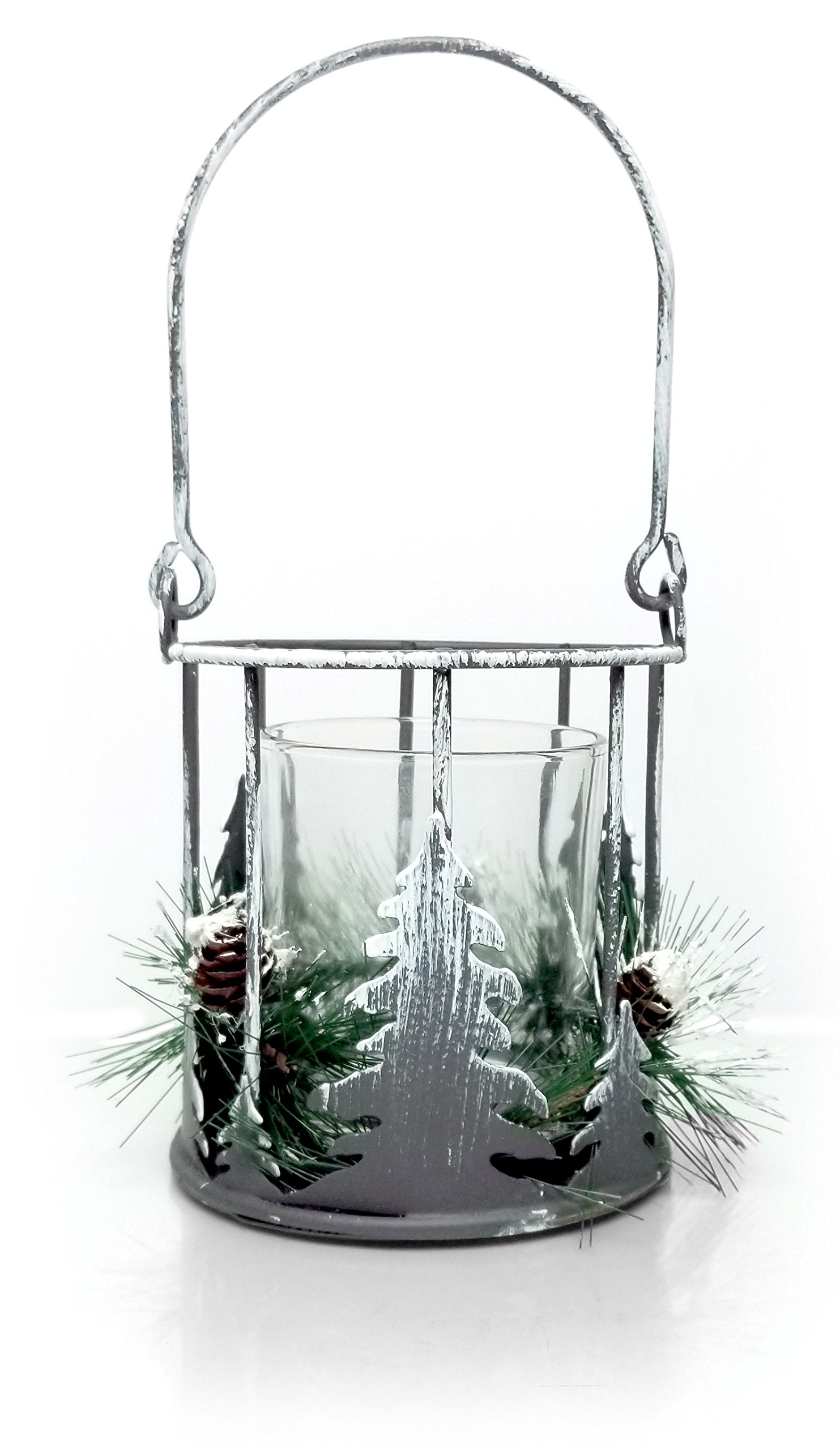 BANBERRY DESIGNS Christmas Rustic - Metal Candleholder with Xmas Trees and Greenery - Glass Insert Votive Holder Included