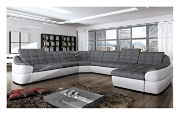 Peachy Bmf Infinity Xl White Grey 6 Seater Extra Large Faux Leather Fabric U Shape Corner Sofa Bed Comfort Right Facing 390Cm X 310Cm Download Free Architecture Designs Embacsunscenecom