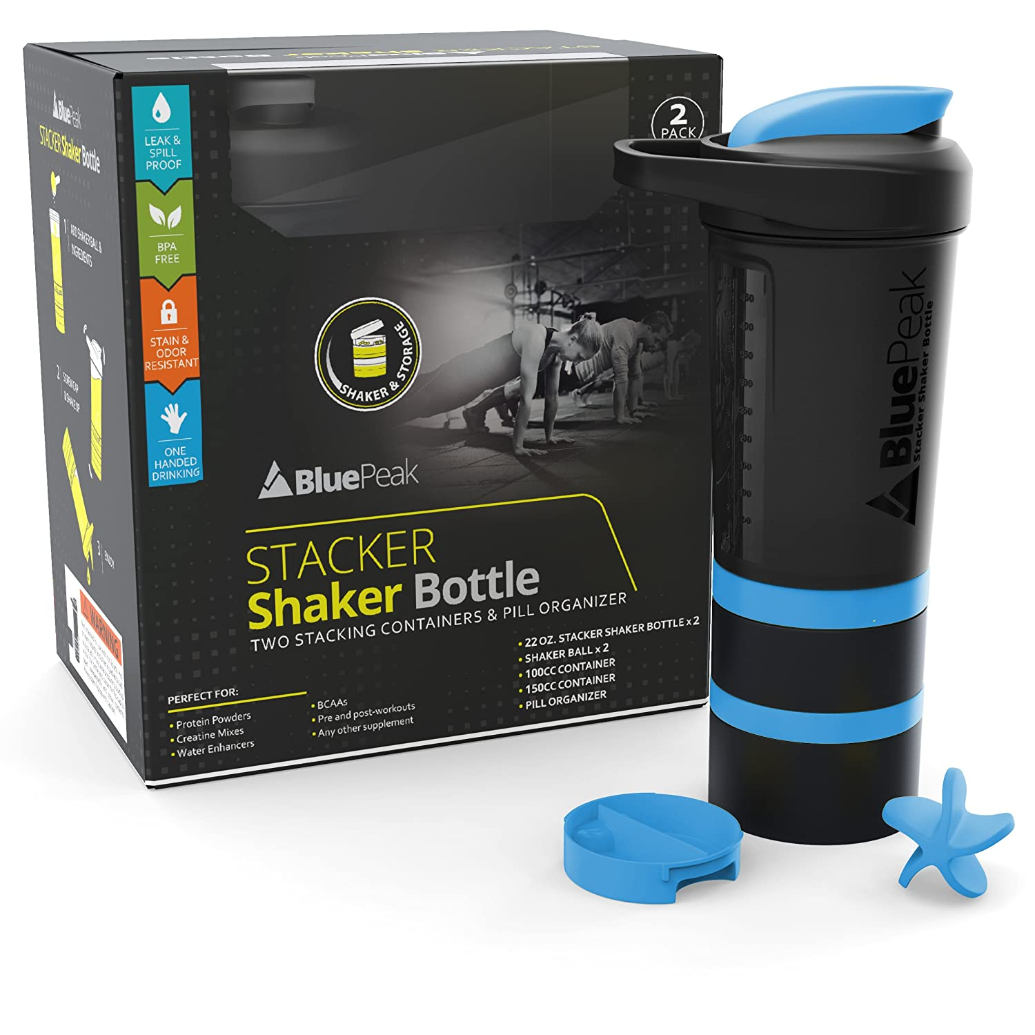 BluePeak Stacker Protein Shaker Bottle 22-Ounce, 2-Pack ProStak. Attachable Storage Containers (100 & 150cc) and Pill Tray Included. BPA Free