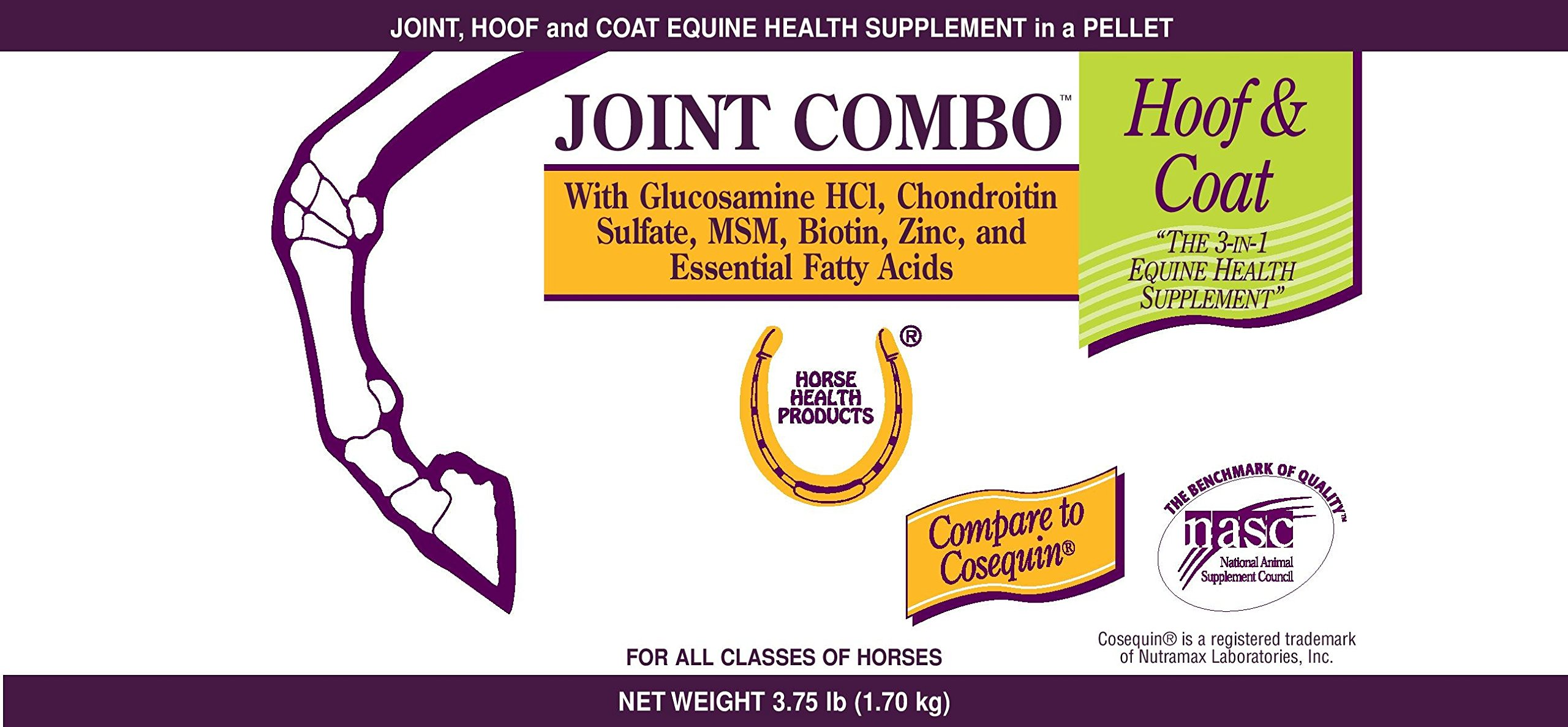 Farnam 3.75 lbs Joint Combo Hoof and Coat Equine Supplement in a Pellet for All Classes of Horses