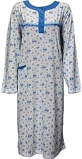 Womens Floral Pyjamas Night Wear Nighty Cotton Full Sleeves Shirt Plus Size